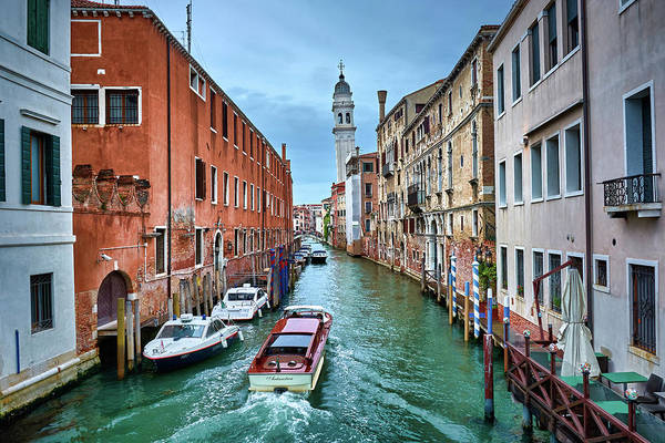 Photograph - Boat Navigating On Venetian Canals In Venice, Italy by Fine Art Photography Prints By Eduardo Accorinti