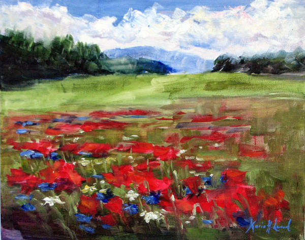 Wiese Wall Art - Painting - Thunder Clouds Over Bavarian Meadow by Karin Leonard