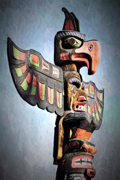 Photograph - Thunderbird Totem Pole - Thunderbird Park, Victoria, British Columbia by Peggy Collins