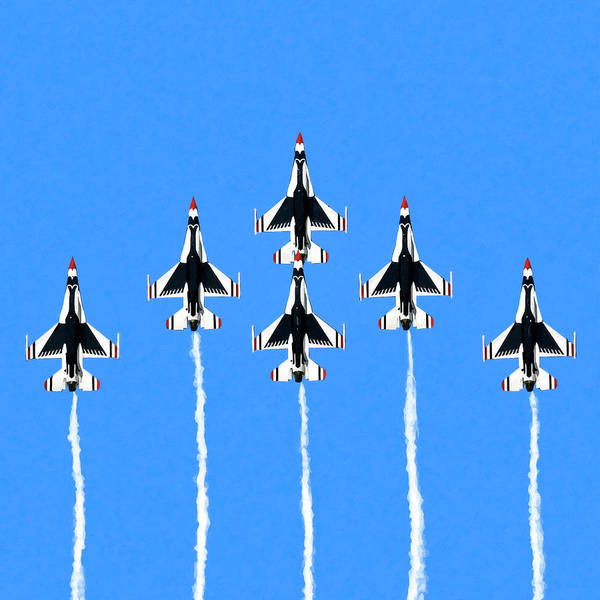 Delta Mixed Media - Thunderbirds Flying In Formation by Mark Tisdale