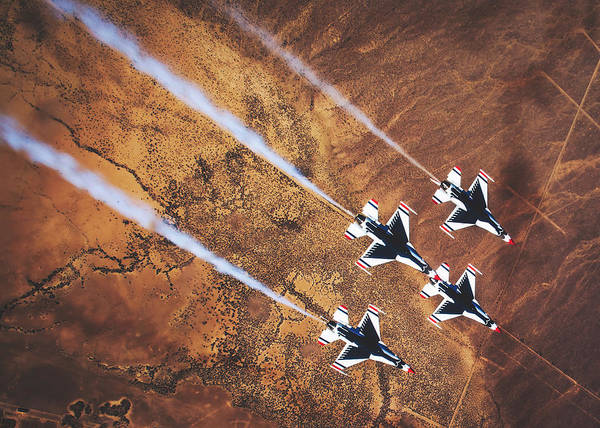 Wall Art - Photograph - Thunderbirds In Diamond Roll Formation by U S A F