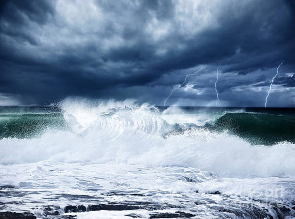 Cyclone Wall Art - Photograph - Thunderstorm And Lightning On The Beach by Anna Om