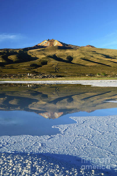 Photograph - Thunupa Volcano Reflected In Salar De Uyuni Bolivia by James Brunker