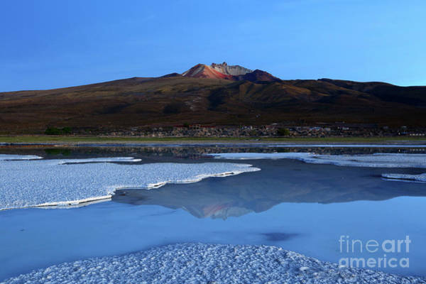 Photograph - Thunupa Volcano Twilight Reflections Salar De Uyuni Bolivia by James Brunker