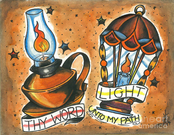 Tattoo Flash Painting - Thy Word by Jonathan VanderMey