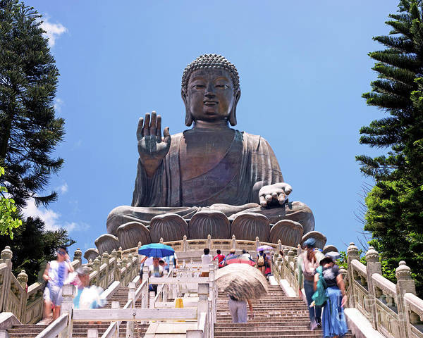Giant Buddha Photograph - Tian Tan Buddha Or The Big Buddha Hong Kong by Chris Smith