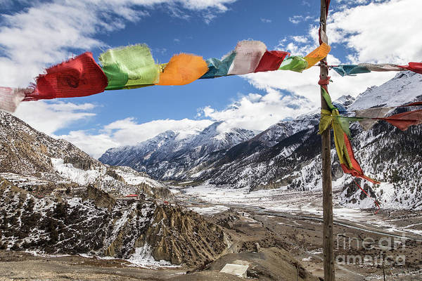 Photograph - Tibetan Buddhism Prayer Flags In Nepal In The Annapurna Range by Didier Marti