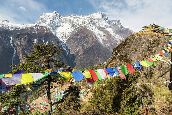 Photograph - Tibetan Buddhism Prayer Flags On The Top Of Namche Bazaar by Didier Marti