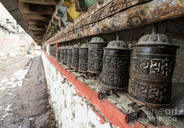 Photograph - Tibetan Buddhism Prayer Wheels  In Manang by Didier Marti