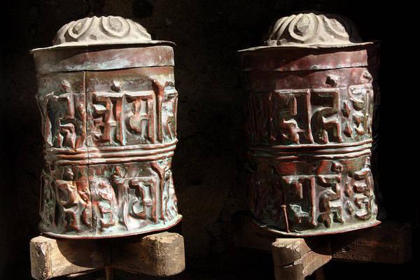 Photograph - Tibetan Buddhist Copper Prayer Wheels by Aidan Moran