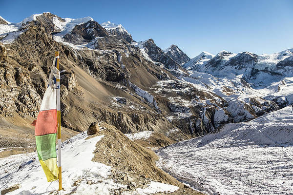 Photograph - Tibetan Buddhist Prayer Flag On The Way To The Thorung La Pass O by Didier Marti