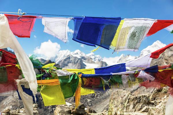 Photograph - Tibetan Buddhist Prayer Flags In Nepal by Didier Marti