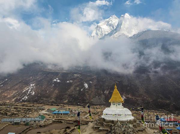 Photograph - Tibetan Buddhist Stupa Above The Dingboche Village by Didier Marti