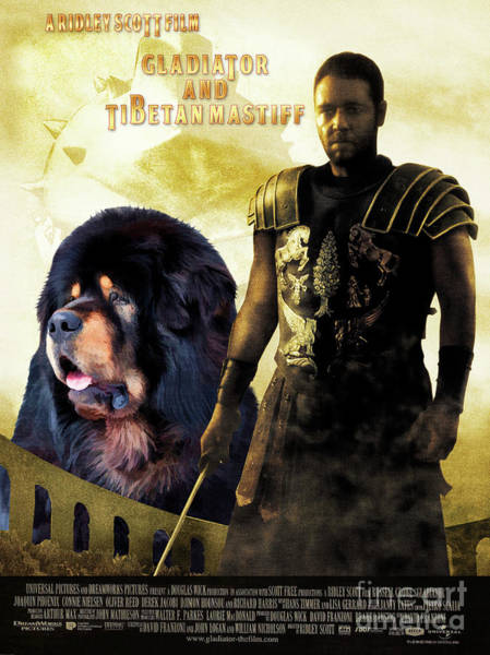 Tibetan Mastiff Painting - Tibetan Mastiff Art Canvas Print - Gladiator Movie Poster by Sandra Sij