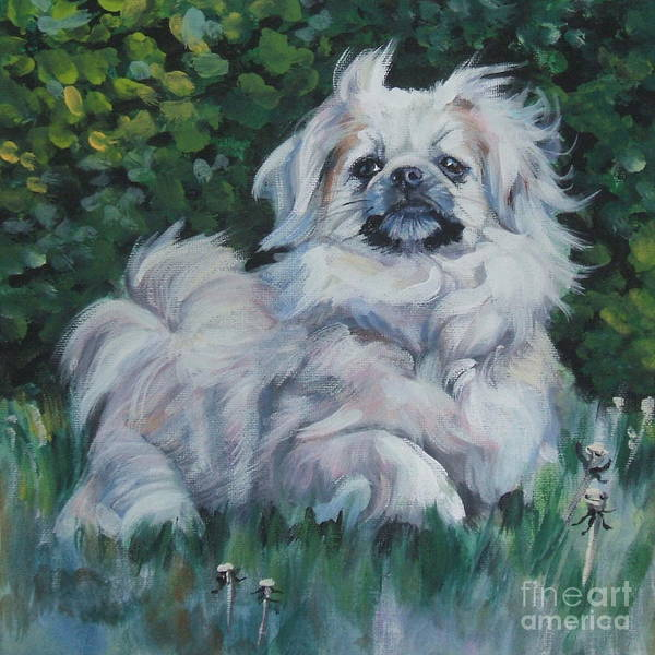 Tibetan Wall Art - Painting - Tibetan Spaniel In Field by Lee Ann Shepard