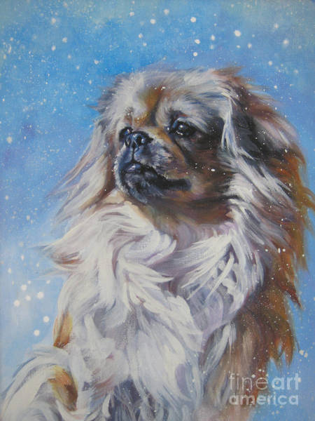Tibetan Wall Art - Painting - Tibetan Spaniel In Snow by Lee Ann Shepard