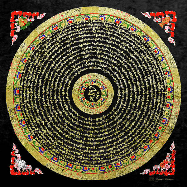 Digital Art - Tibetan Thangka - Om Mandala With Syllable Mantra Over Black by Serge Averbukh