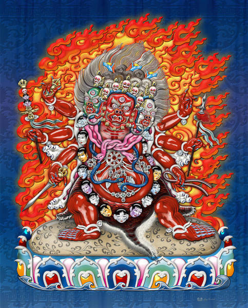 Graphic Wall Art - Photograph - Tibetan Thangka Remake - Hayagriva by Serge Averbukh