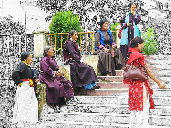 Tibetan Women Waiting Art Print