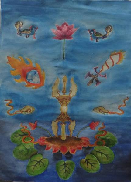 Flaming Sword Painting - Tibetian Totems by Saloni Verma