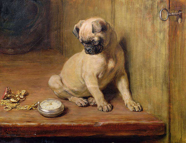 Briton Wall Art - Painting - Tick-tick by Briton Riviere