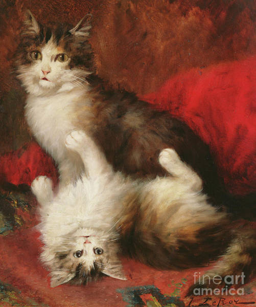 Kitten Play Wall Art - Painting - Tickle My Fancy by Jules Leroy