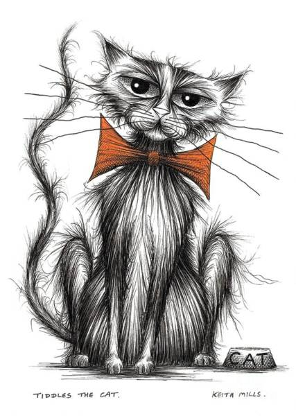 Miserable Drawing - Tiddles The Cat by Keith Mills