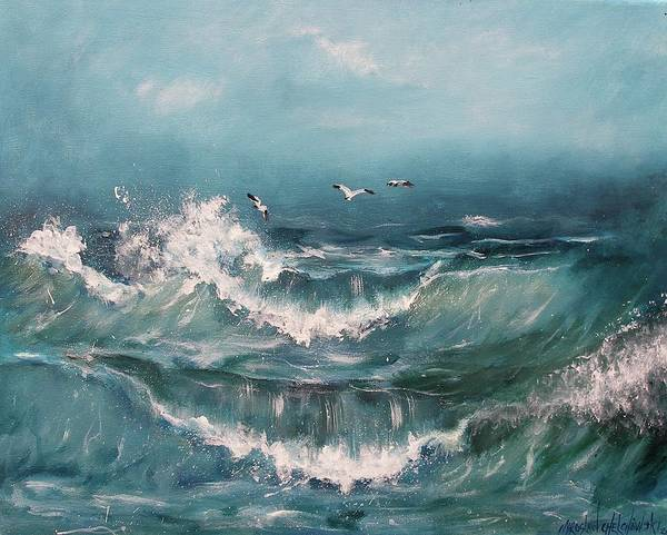 Painting - Tide by Miroslaw  Chelchowski