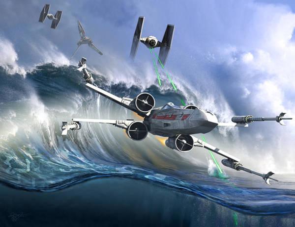 Space Ship Digital Art - Battle Over Kamino - The Tie Dal Wave by Kurt Miller