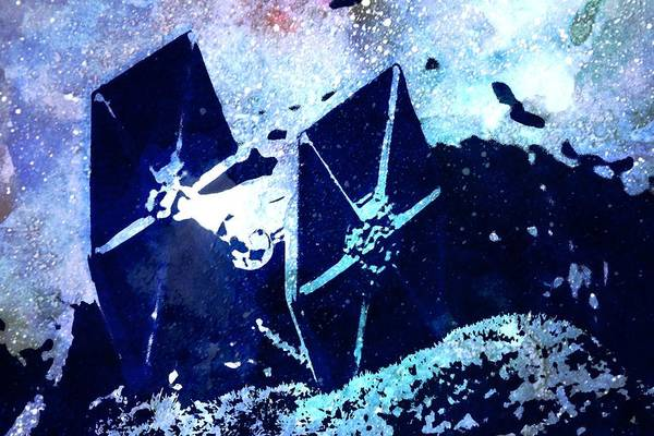 Galactic Empire Photograph - Tie Fighter In Watercolor by Modern Art