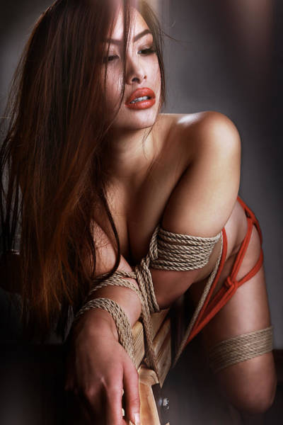 Erotism Photograph - Tied Asian Girl by Rod Meier