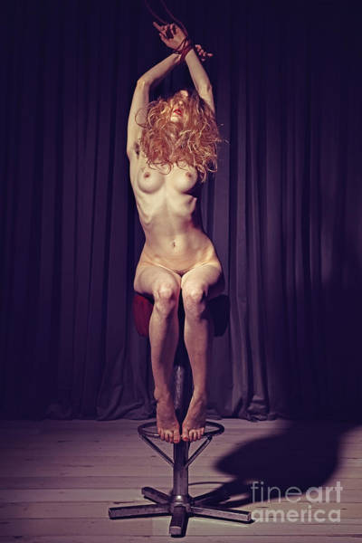 Photograph - Tied Up Nude Woman On A Bar Stool by William Langeveld