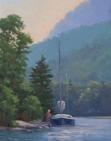 Adirondack Mountains Painting - Tied Up On Picnic Island Lake George Ny by Marianne Kuhn
