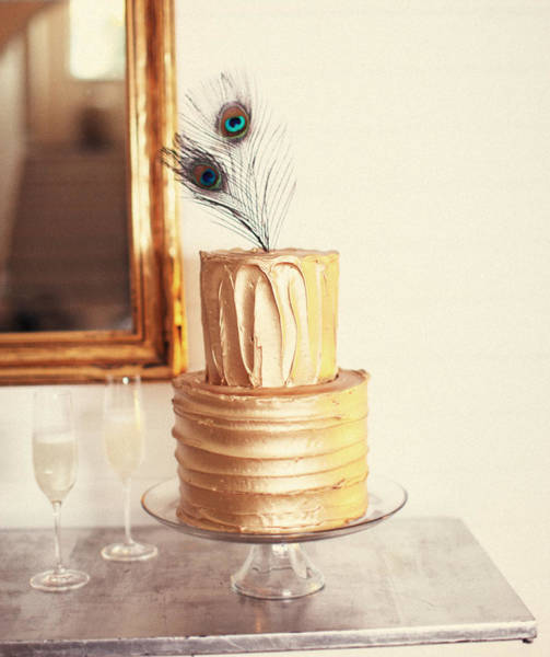 Dessert Photograph - Tiered Cake With Peacock Feathers On Top by Gillham Studios