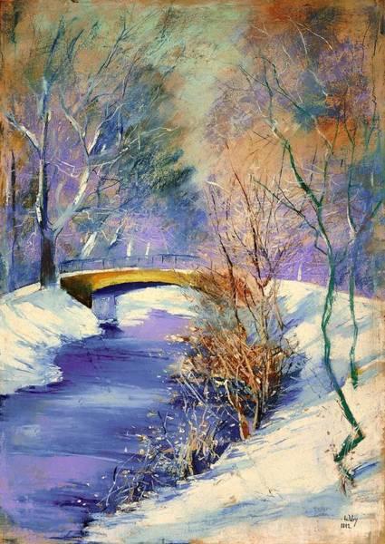 Snow Bank Painting - Tiergarten In Winter by Mountain Dreams