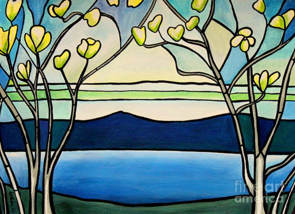 Painting - Tiffany And Blossoms Stained Glass by Elizabeth Robinette Tyndall