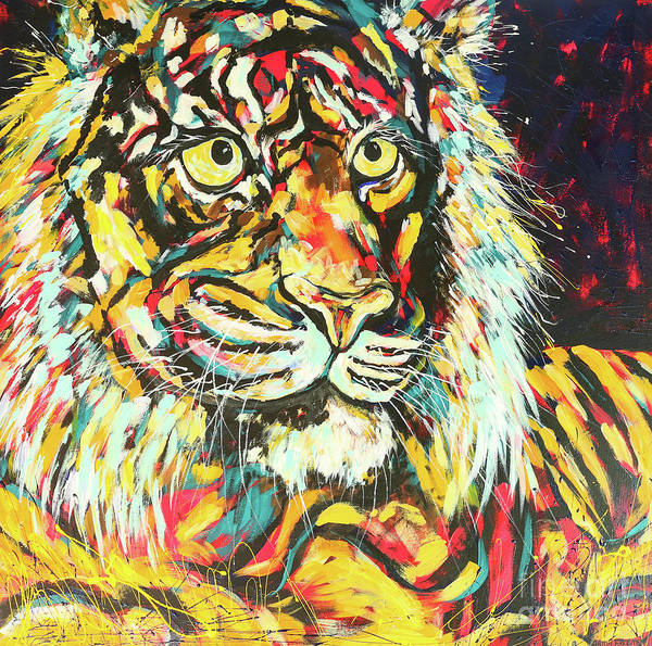 Wall Art - Painting - Tiger #2 by Arrin Burgand