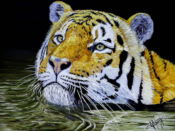 Meadowlark Painting - Tiger 24x18x1 Inch Oil On Gallery Canvas by Manuel Lopez