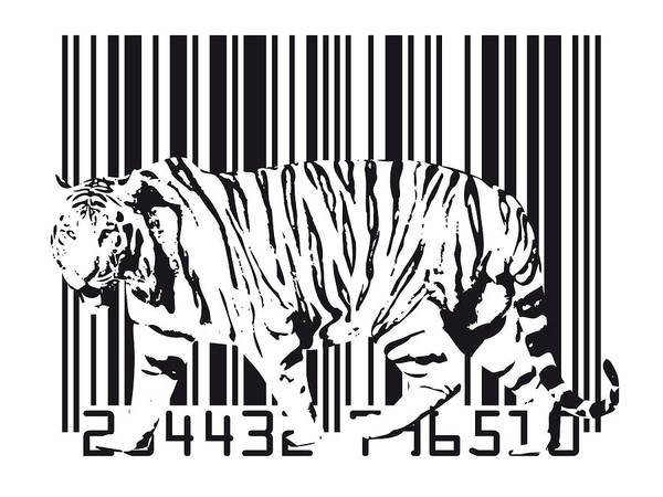Tiger Digital Art - Tiger Barcode by Michael Tompsett