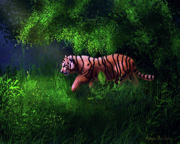Digital Art - Tiger Cub In Forest by Angela Murdock