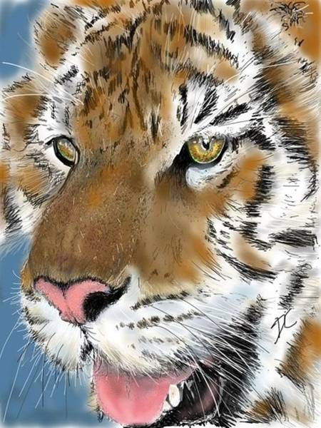 Digital Art - Tiger Face by Darren Cannell