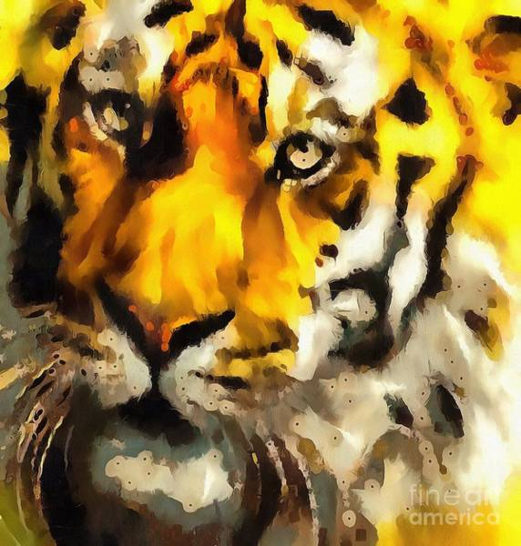 Painting - Tiger Fragmented In Thick Paint by Catherine Lott