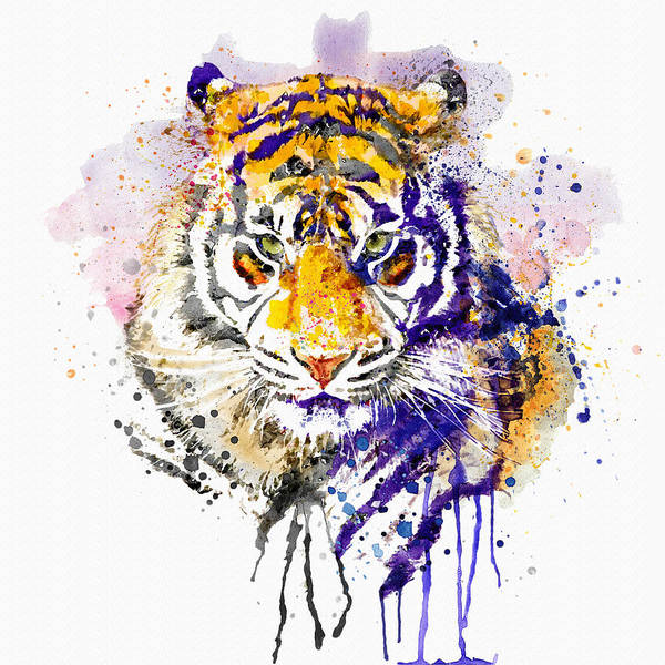 Bengal Tiger Painting - Tiger Head Portrait by Marian Voicu