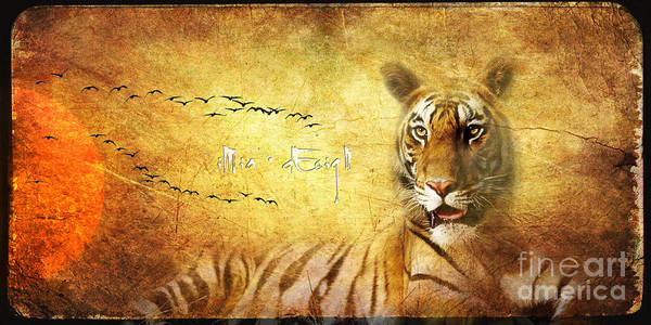 Wall Art - Digital Art - Tiger In The Sun by Maria Astedt