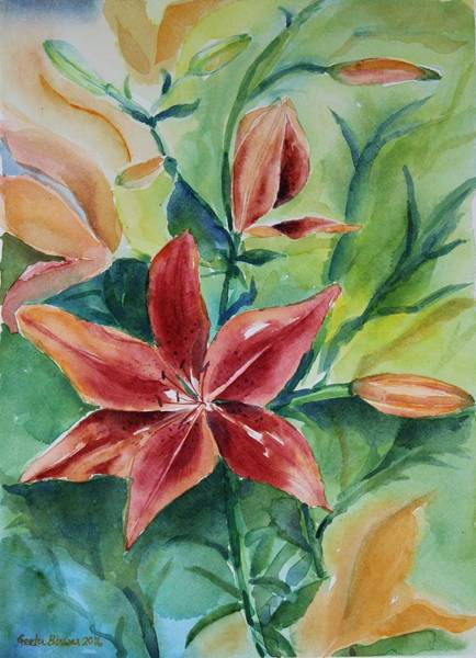 Tigerlily Wall Art - Painting - Tiger Lily Still Life In Watercolor by Geeta Biswas