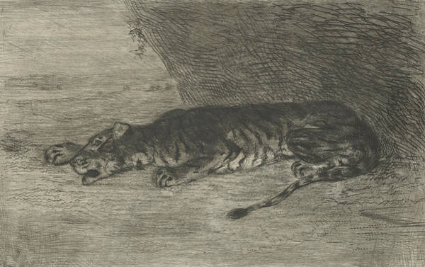 Relief - Tiger Lying At The Entrance Of Its Lair by Eugene Delacroix