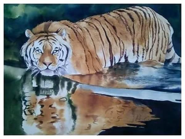Strangling Painting - Tiger  by Madan kumar Jatav