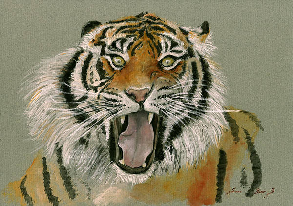 Wall Art - Painting - Tiger Portrait by Juan Bosco