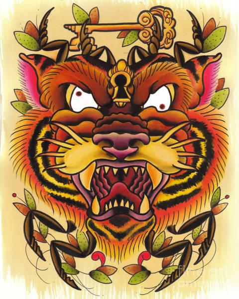 Tattoo Flash Painting - Tiger Spider by Lauren B