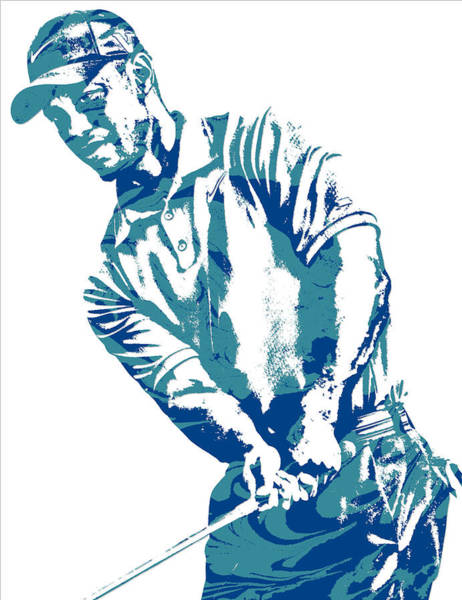 Wall Art - Mixed Media - Tiger Woods Pga Golf Pro Pixel Art 1 by Joe Hamilton